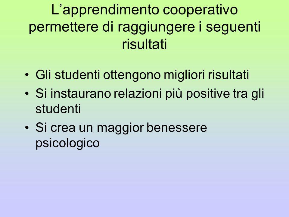 L'apprendimento cooperativo permettere di raggiungere i seguenti risultati