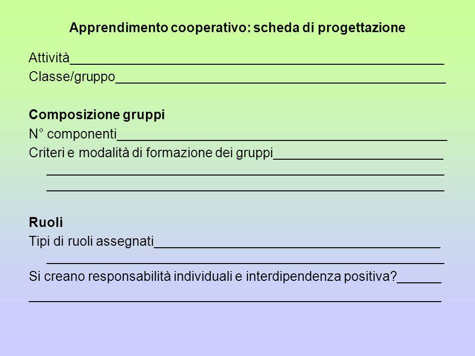 Apprendimento cooperativo: scheda di progettazione