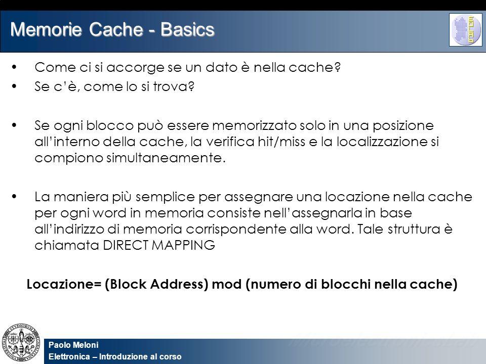 Locazione= (Block Address) mod (numero di blocchi nella cache)
