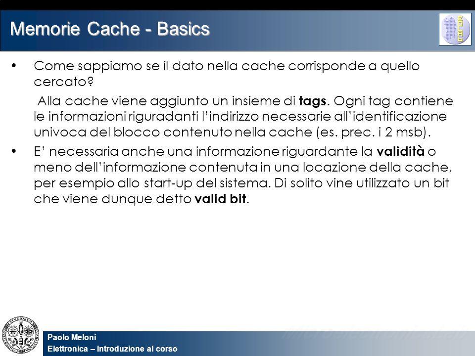 Memorie Cache - Basics Come sappiamo se il dato nella cache corrisponde a quello cercato