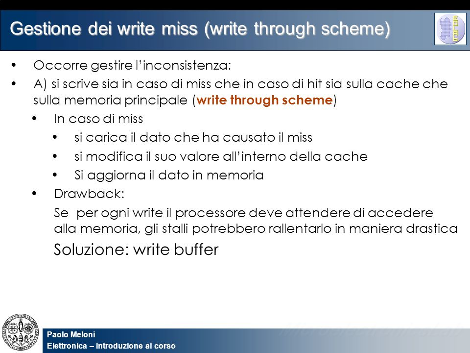 Gestione dei write miss (write through scheme)