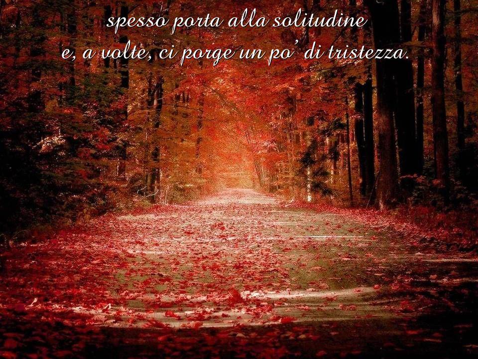spesso porta alla solitudine e, a volte, ci porge un po' di tristezza.