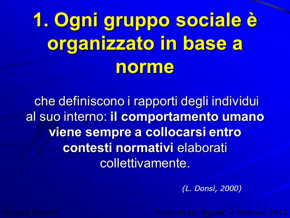 1. Ogni gruppo sociale è organizzato in base a norme che definiscono i rapporti degli individui al suo interno: il comportamento umano viene sempre a collocarsi entro contesti normativi elaborati collettivamente.