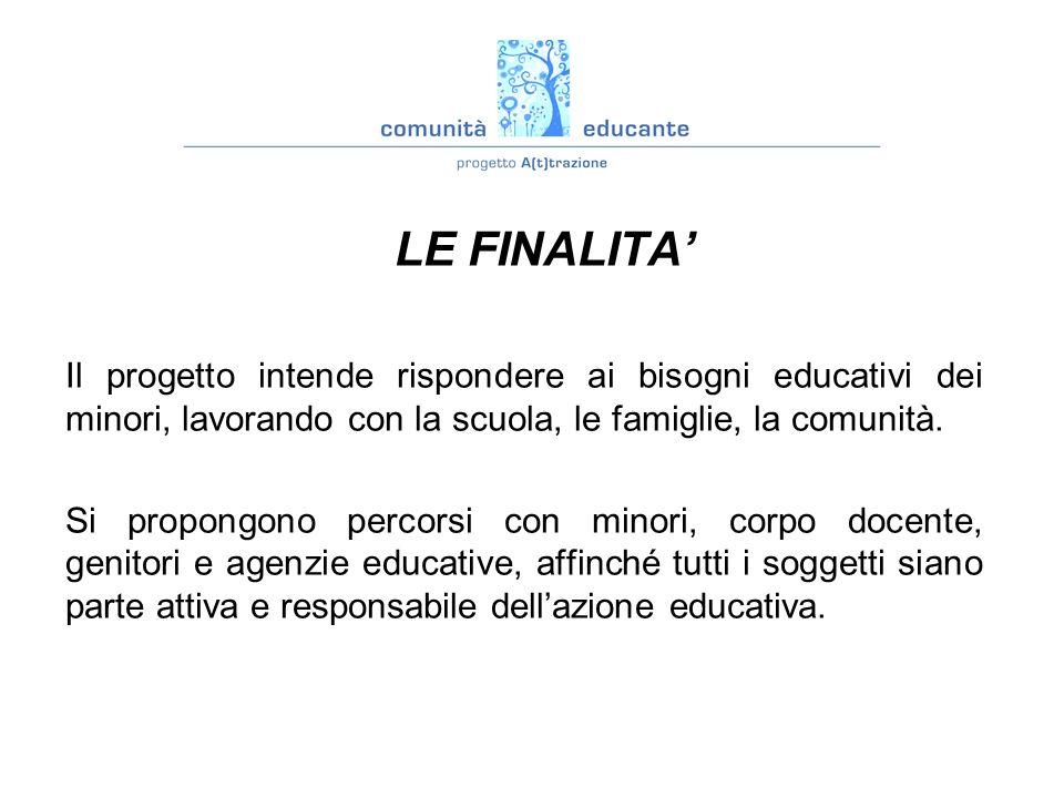 vision : LE FINALITA' Il progetto intende rispondere ai bisogni educativi dei minori, lavorando con la scuola, le famiglie, la comunità.