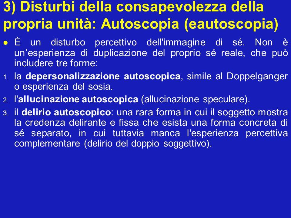 3) Disturbi della consapevolezza della propria unità: Autoscopia (eautoscopia)