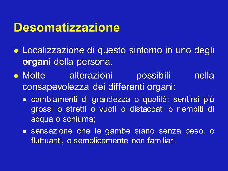 Desomatizzazione Localizzazione di questo sintomo in uno degli organi della persona.