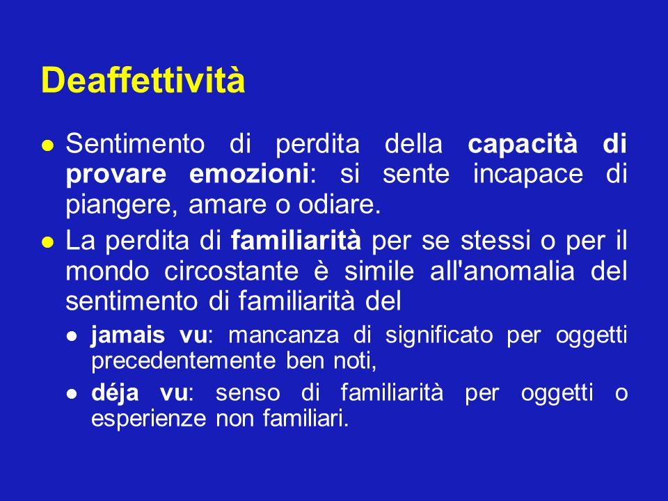 Deaffettività Sentimento di perdita della capacità di provare emozioni: si sente incapace di piangere, amare o odiare.