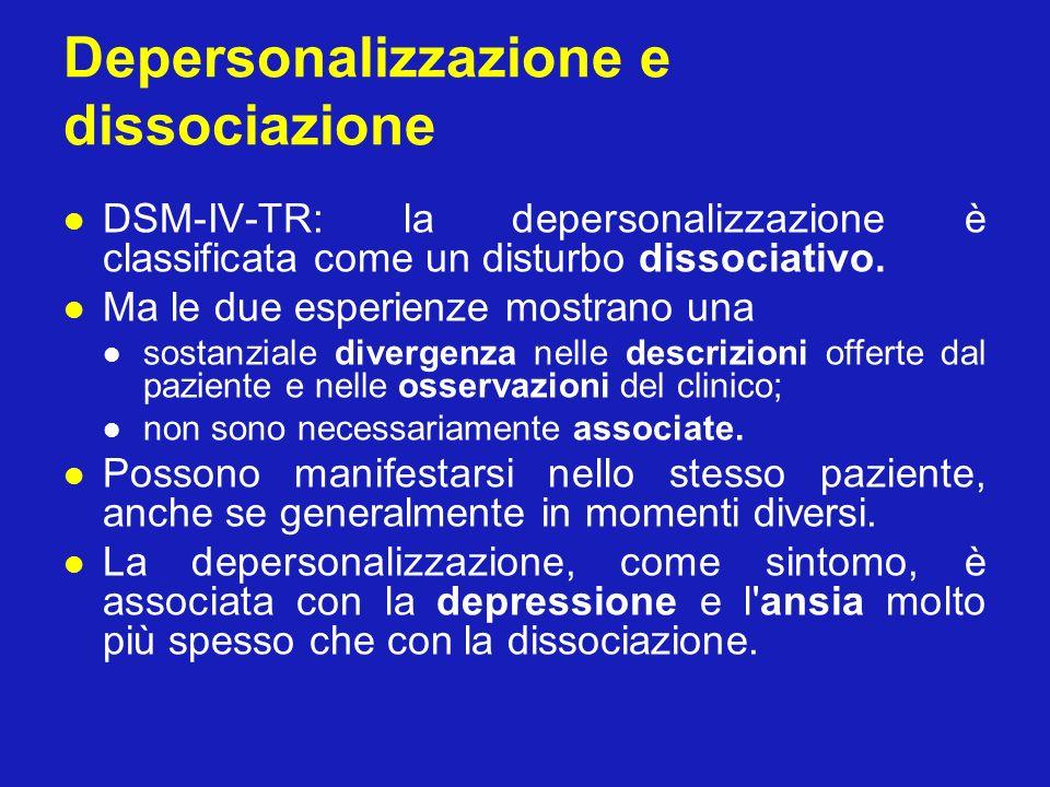 Depersonalizzazione e dissociazione