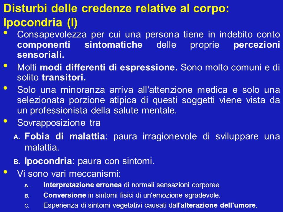 Disturbi delle credenze relative al corpo: Ipocondria (I)