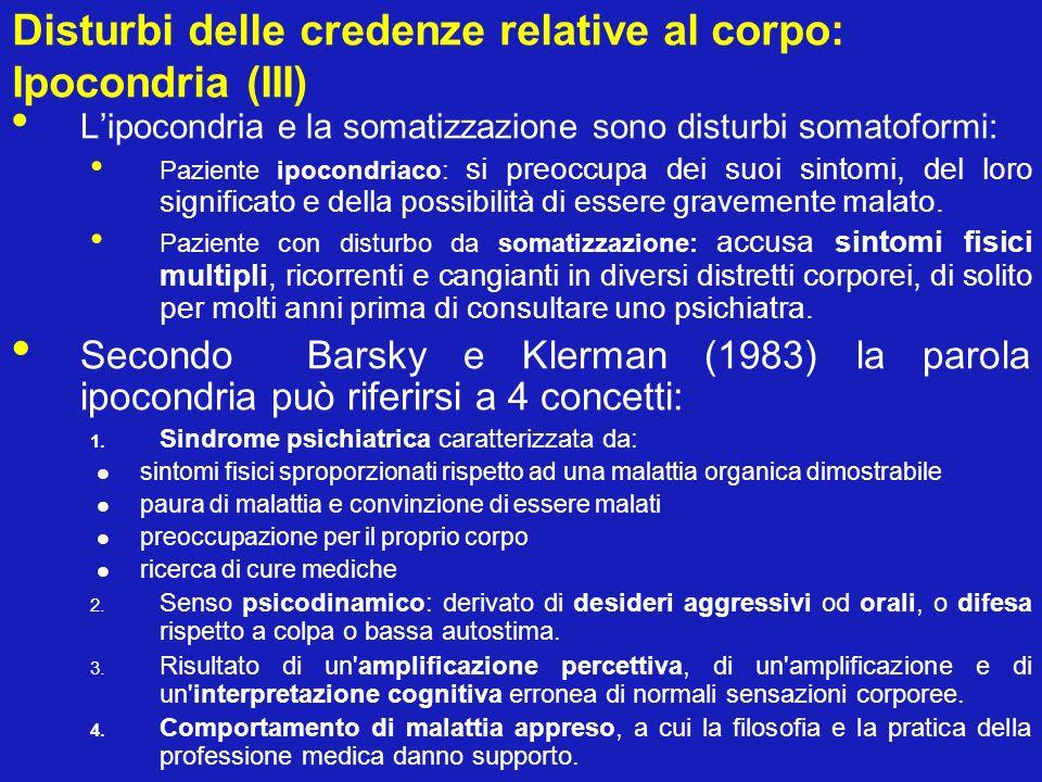 Disturbi delle credenze relative al corpo: Ipocondria (III)
