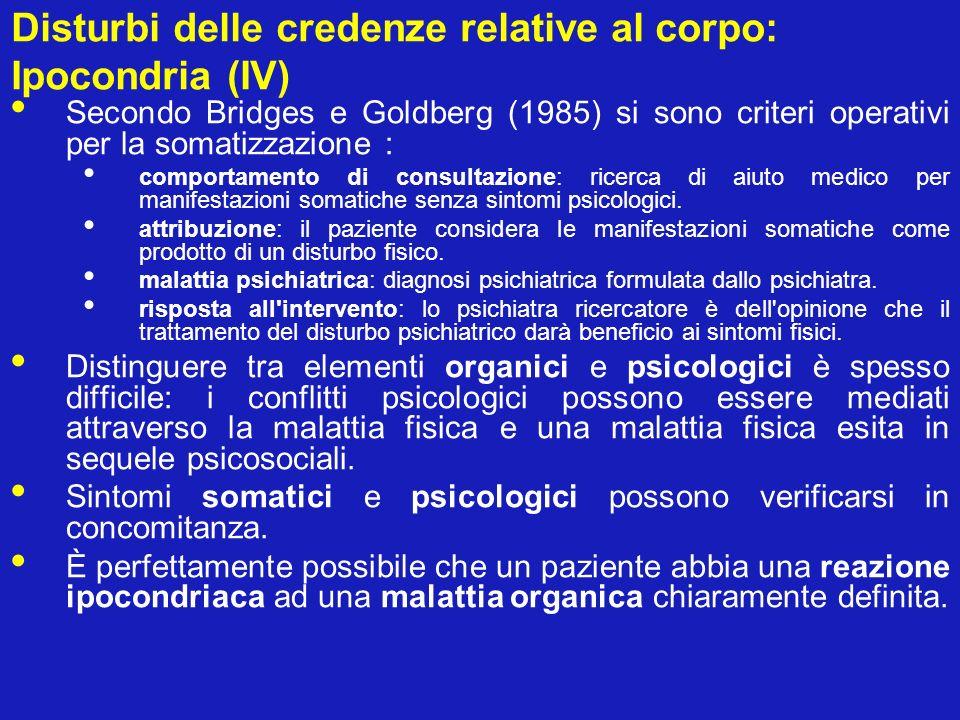 Disturbi delle credenze relative al corpo: Ipocondria (IV)