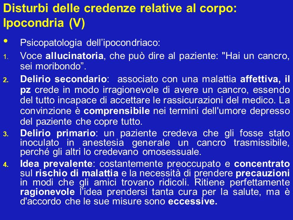Disturbi delle credenze relative al corpo: Ipocondria (V)