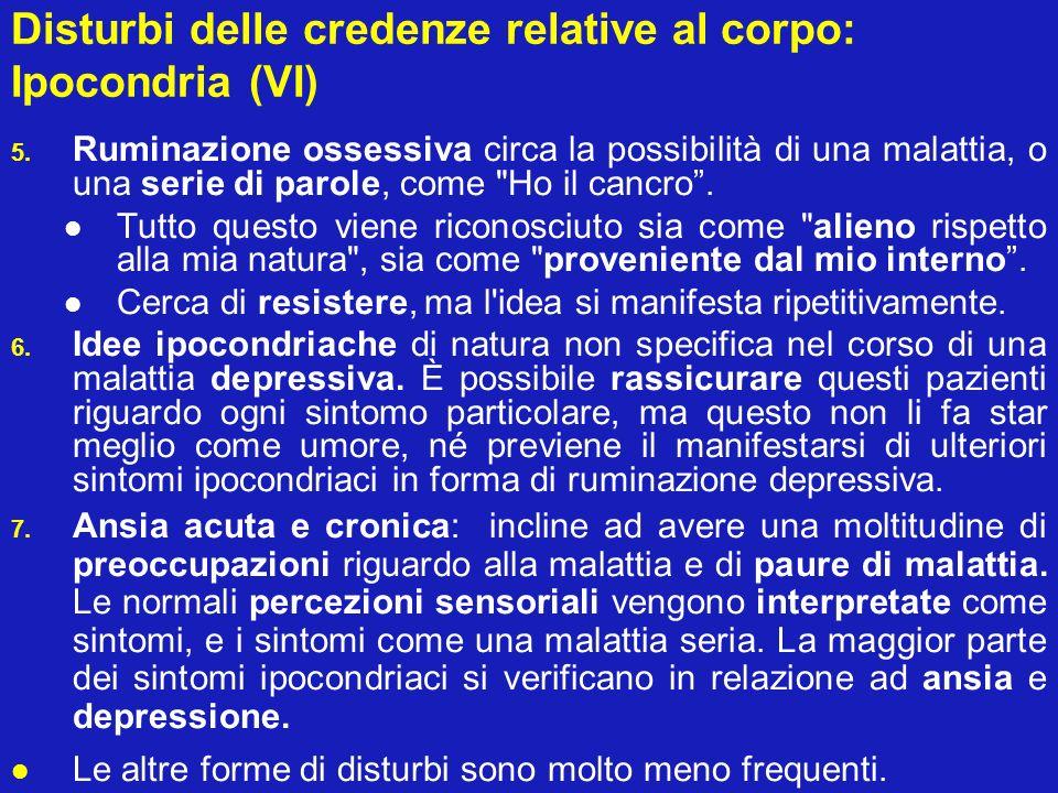 Disturbi delle credenze relative al corpo: Ipocondria (VI)