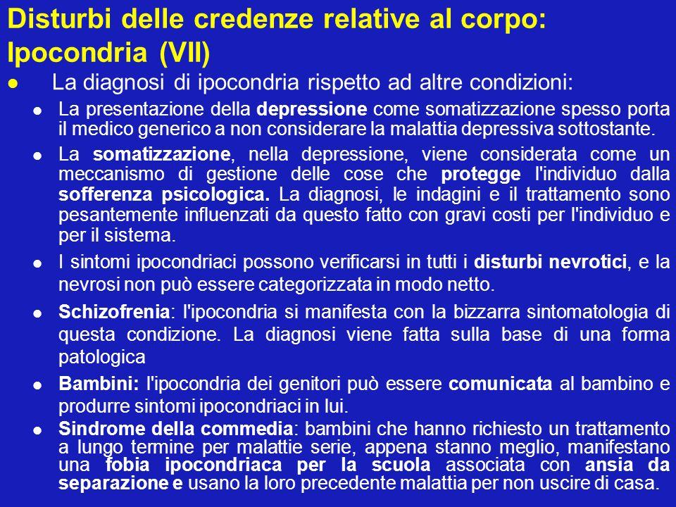 Disturbi delle credenze relative al corpo: Ipocondria (VII)