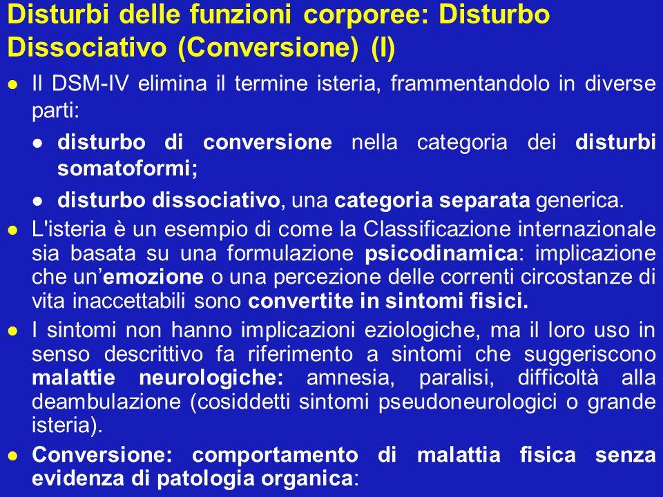 Disturbi delle funzioni corporee: Disturbo Dissociativo (Conversione) (I)