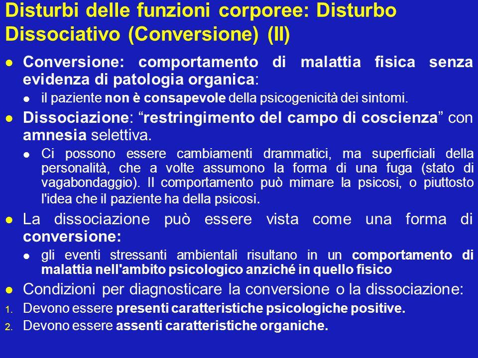 Disturbi delle funzioni corporee: Disturbo Dissociativo (Conversione) (II)