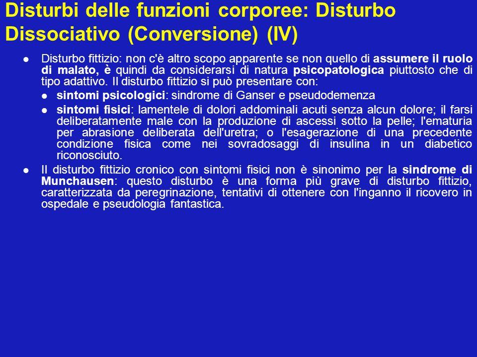 Disturbi delle funzioni corporee: Disturbo Dissociativo (Conversione) (IV)