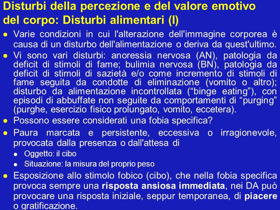 Disturbi della percezione e del valore emotivo del corpo: Disturbi alimentari (I)