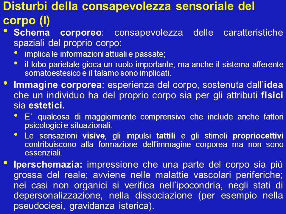 Disturbi della consapevolezza sensoriale del corpo (I)