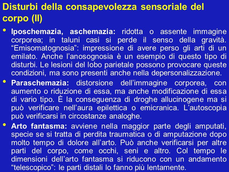 Disturbi della consapevolezza sensoriale del corpo (II)