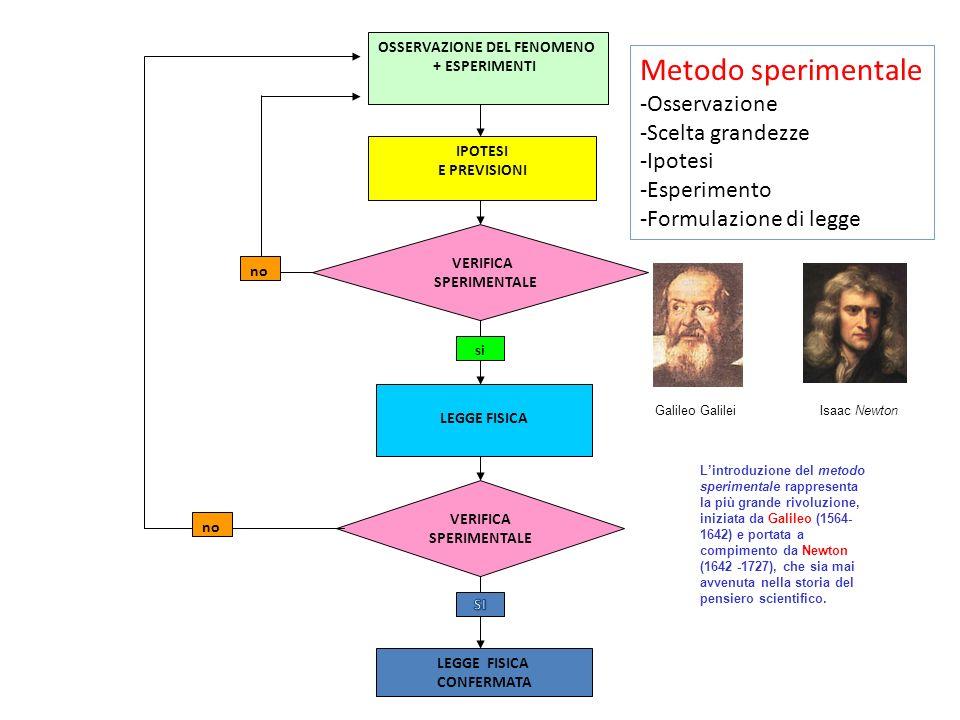 Metodo sperimentale Osservazione Scelta grandezze Ipotesi Esperimento