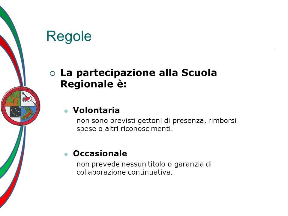 Regole La partecipazione alla Scuola Regionale è: Volontaria