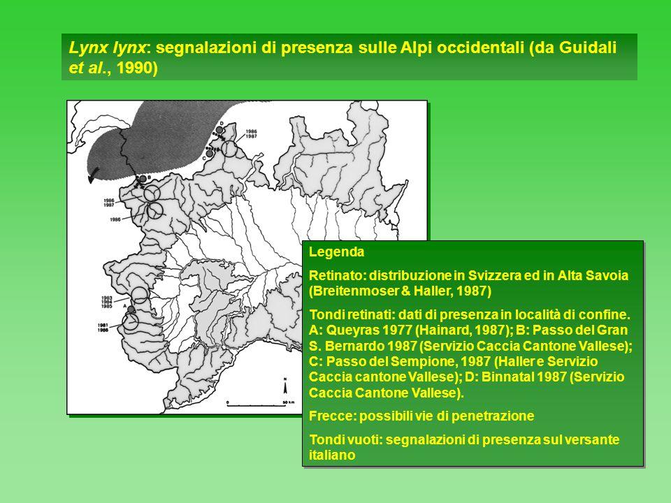 Lynx lynx: segnalazioni di presenza sulle Alpi occidentali (da Guidali et al., 1990)
