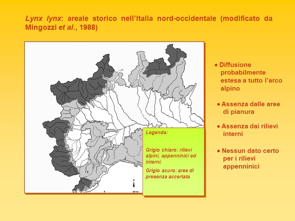 Lynx lynx: areale storico nell'Italia nord-occidentale (modificato da Mingozzi et al., 1988)