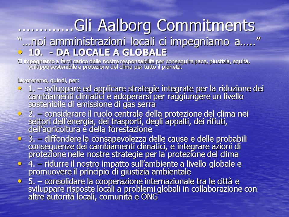 ………….Gli Aalborg Commitments …noi amministrazioni locali ci impegniamo a…..