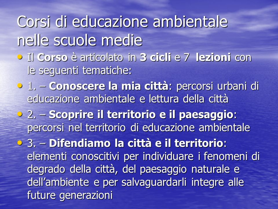 Corsi di educazione ambientale nelle scuole medie