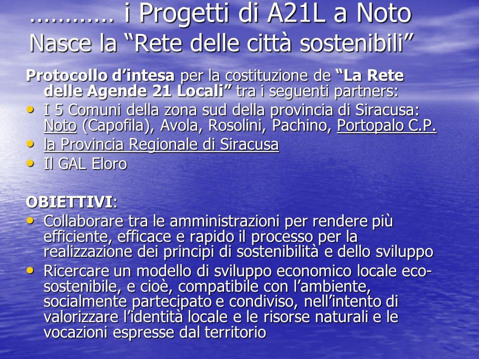 ………… i Progetti di A21L a Noto Nasce la Rete delle città sostenibili