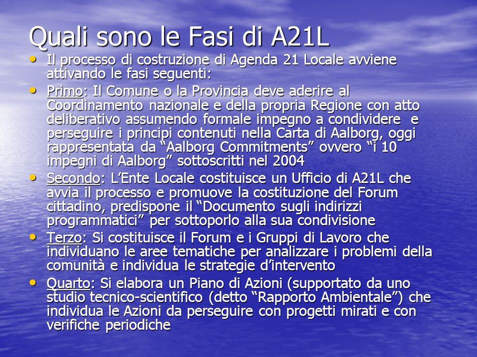 Quali sono le Fasi di A21L Il processo di costruzione di Agenda 21 Locale avviene attivando le fasi seguenti: