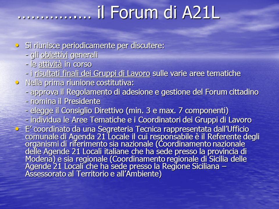 ………….… il Forum di A21L Si riunisce periodicamente per discutere: