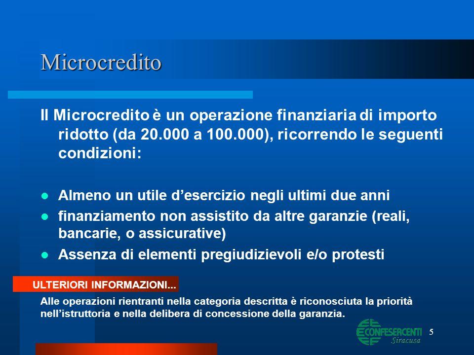 Microcredito Il Microcredito è un operazione finanziaria di importo ridotto (da 20.000 a 100.000), ricorrendo le seguenti condizioni:
