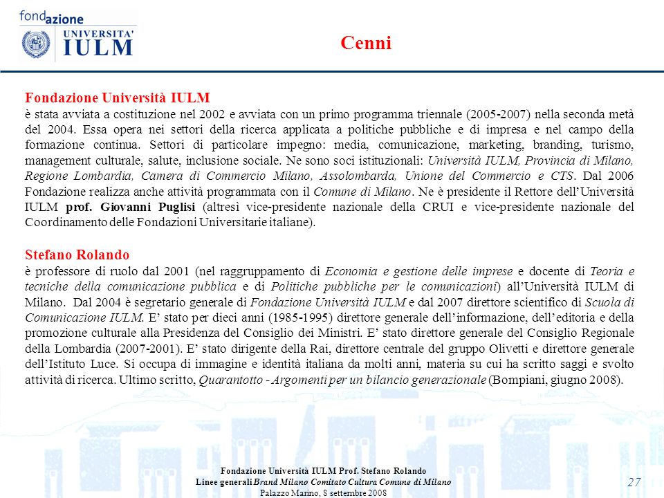 Cenni Fondazione Università IULM Stefano Rolando