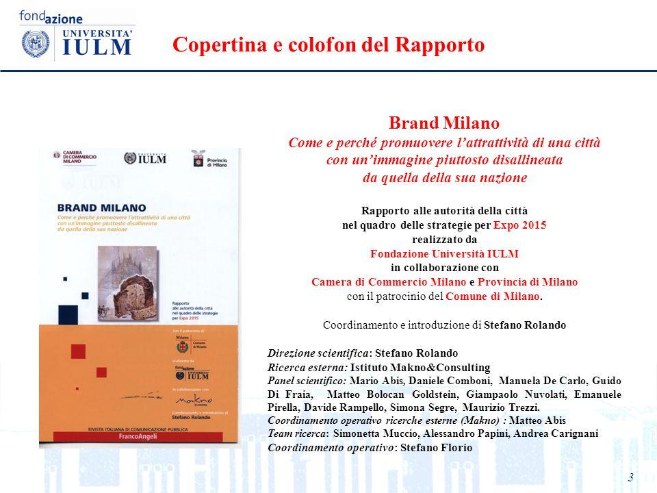 Copertina e colofon del Rapporto