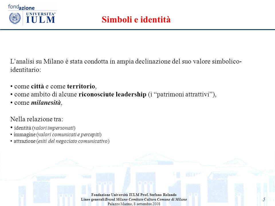 Simboli e identità L'analisi su Milano è stata condotta in ampia declinazione del suo valore simbolico-identitario: