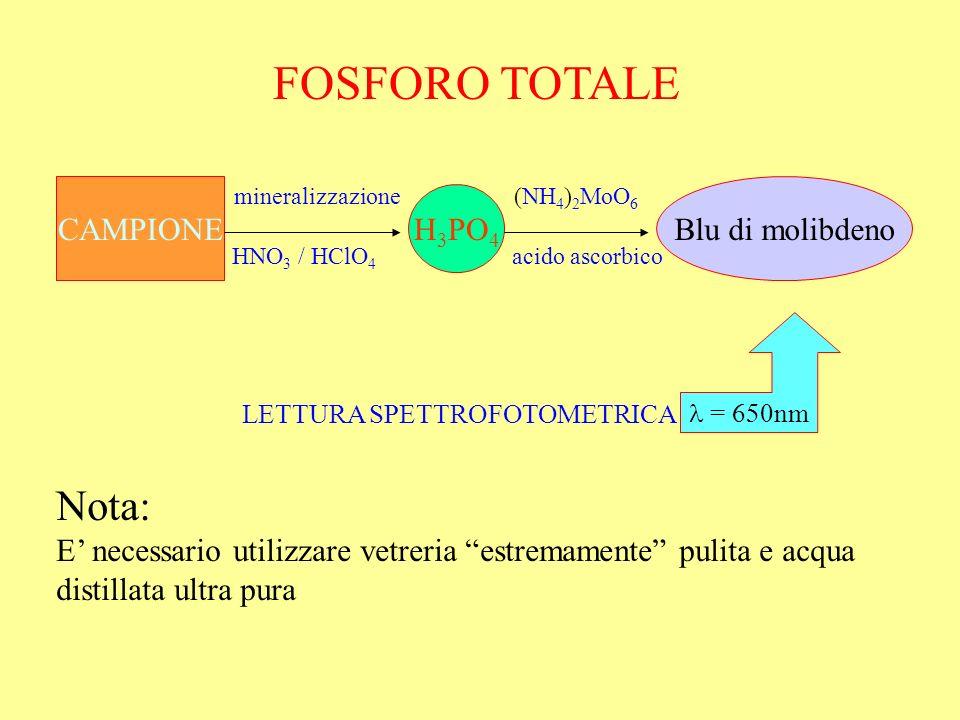 FOSFORO TOTALE Nota: CAMPIONE Blu di molibdeno H3PO4