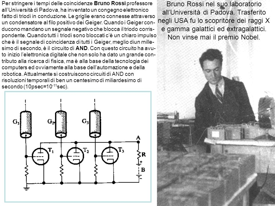 Bruno Rossi nel suo laboratorio all'Università di Padova. Trasferito