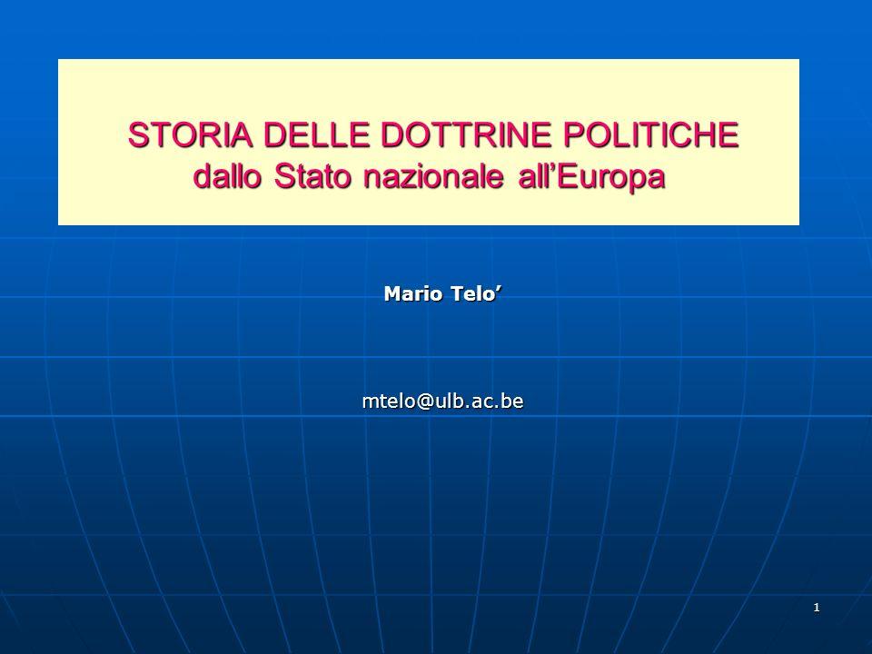STORIA DELLE DOTTRINE POLITICHE dallo Stato nazionale all'Europa