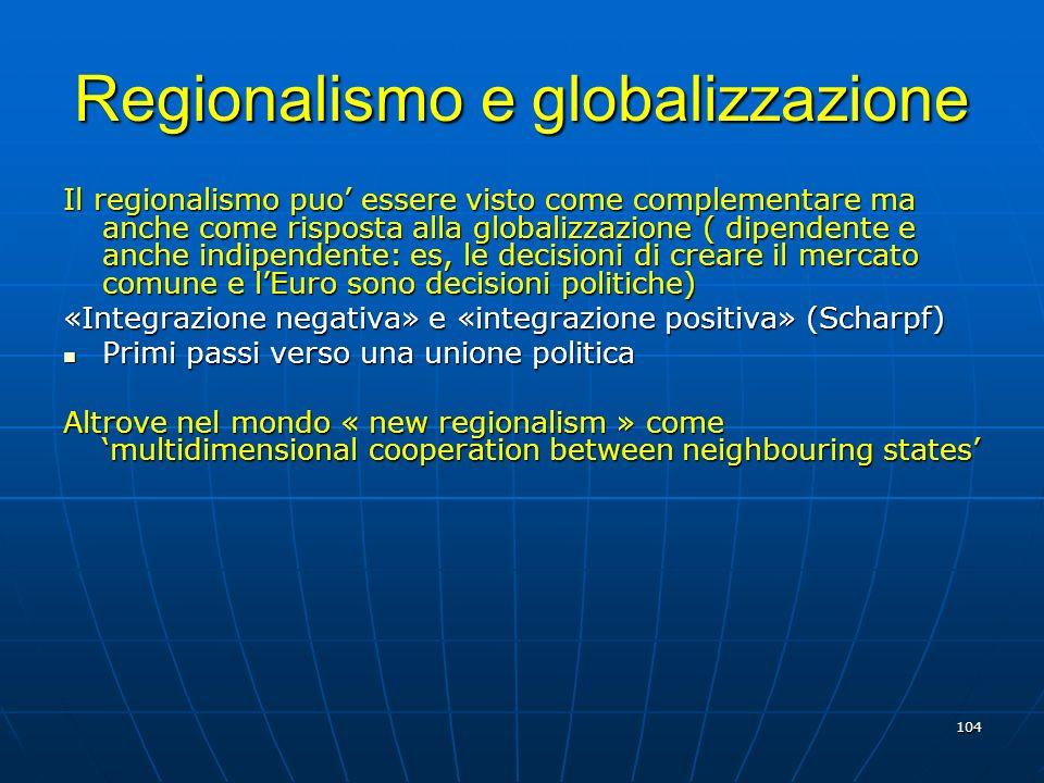 Regionalismo e globalizzazione