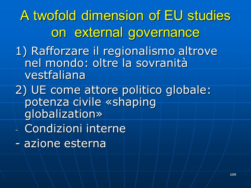 A twofold dimension of EU studies on external governance