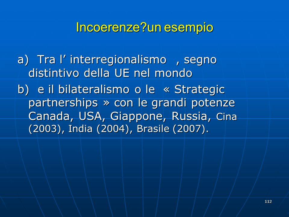 Incoerenze un esempio a) Tra l' interregionalismo , segno distintivo della UE nel mondo.