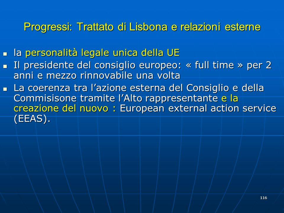 Progressi: Trattato di Lisbona e relazioni esterne