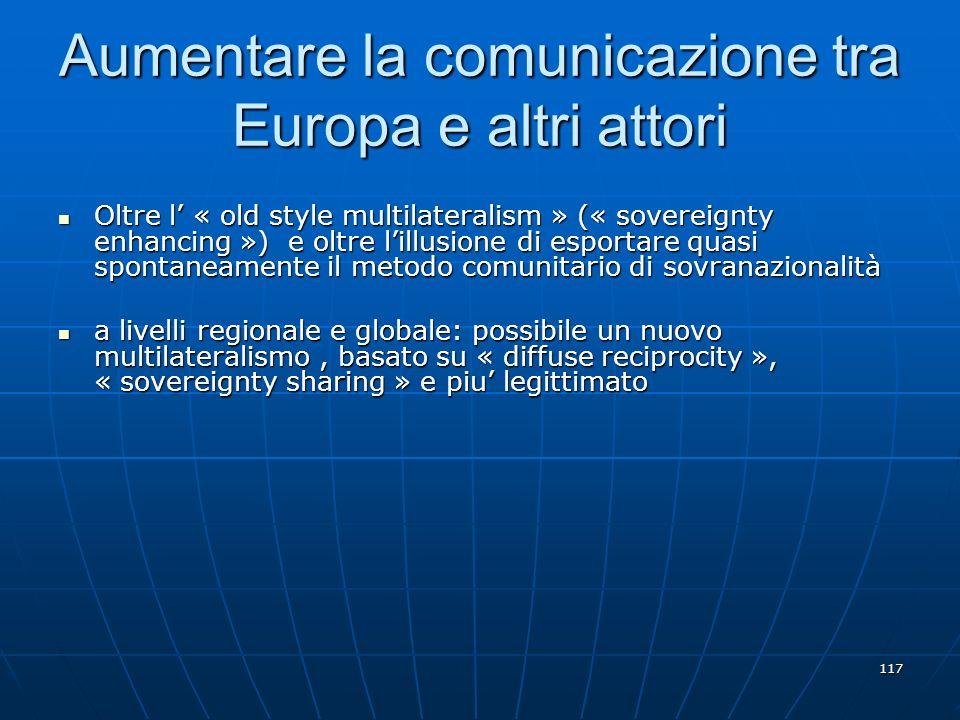Aumentare la comunicazione tra Europa e altri attori