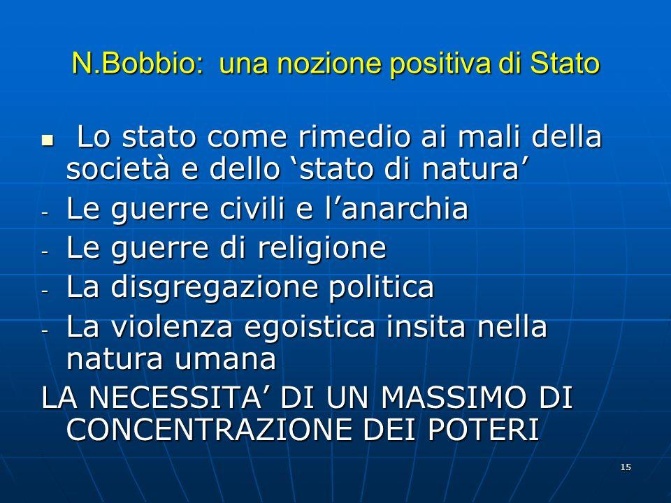 N.Bobbio: una nozione positiva di Stato