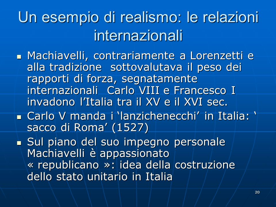 Un esempio di realismo: le relazioni internazionali