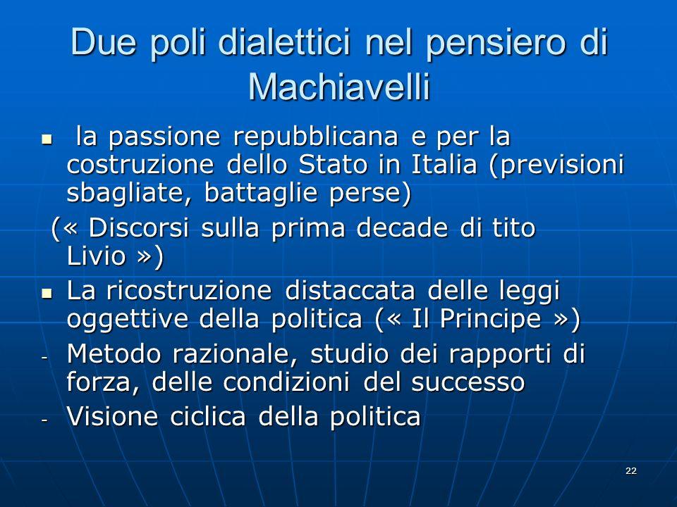 Due poli dialettici nel pensiero di Machiavelli