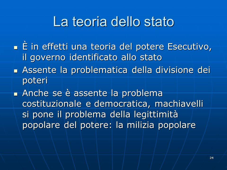 La teoria dello stato È in effetti una teoria del potere Esecutivo, il governo identificato allo stato.
