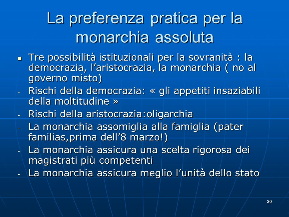 La preferenza pratica per la monarchia assoluta